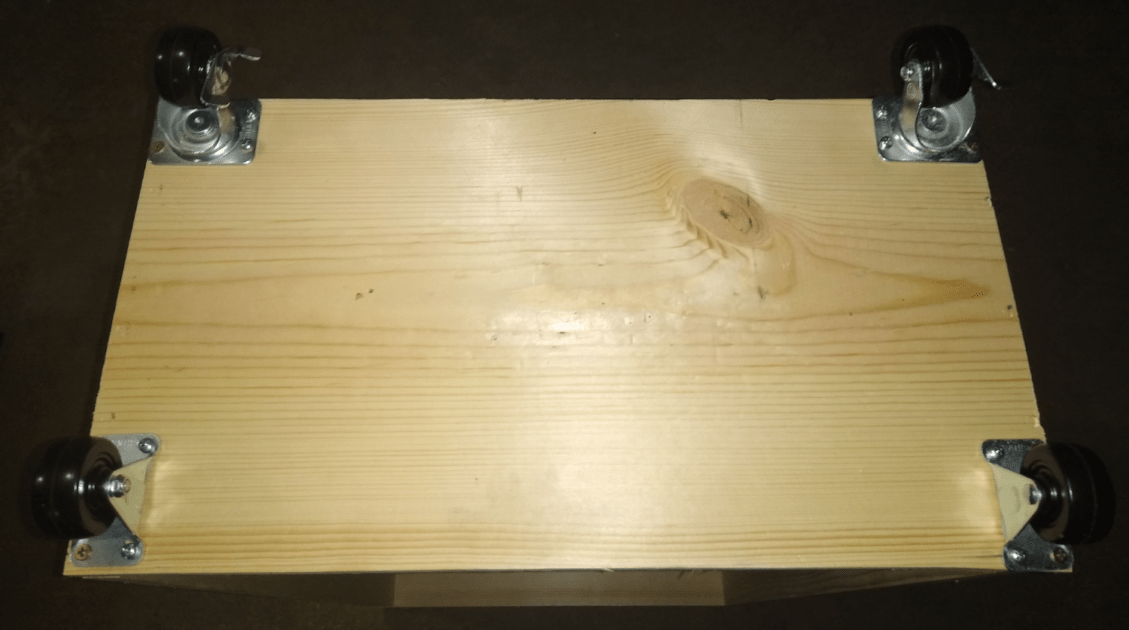 How To Build a Rack for Home Studio - casters installed
